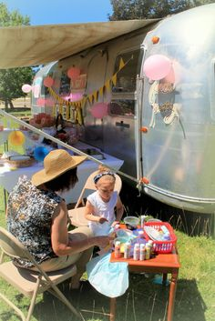 Ophelia's Birthday Carnival Face Painting Booth #birthday #carnival #airstream