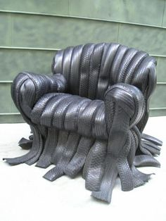 A shredded tire chair - cool!