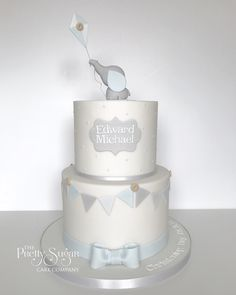 Delighted to be asked to make this Christening cake for Edward after making his Mum and Dad's wedding cake last year 💙 hope you have a lovely day celebrating! Dumbo Baby Shower, Elephant Baby Shower Cake, Elephant Cakes, Baby Shower Sweets, Baby Shower Cakes For Boys, Baby Shower Decorations For Boys, Baby Boy Cakes, Baby Boy Christening Cake, Cake For Baptism Boy