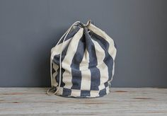 Heavy Striped Canvas Beach Backpack by OceanSwept on Etsy, $44.00