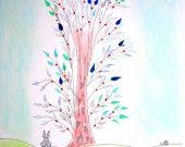 Lapin, Souris, Escargot, Chat et les feuilles bleues, dessin encre de chine et encre à dessin, pastel papier épais 300 gr non encadré.