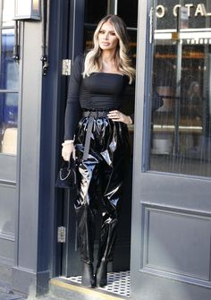 TOWIE's Chloe Sims rocks black vinyl trousers to film Celebs Go Dating Pvc Leggings, Shiny Leggings, Celebs Go Dating, Vinyl Trousers, Leather Catsuit, Leather Pants, Chloe Sims, Vinyl Clothing, Sims Hair