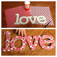 """chipboard covered """"love"""" for VDay"""