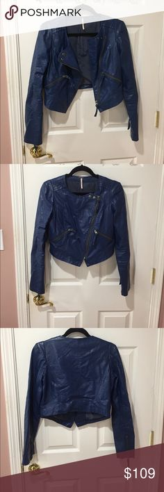 Free People Blue Vegan Leather Jacket Cropped Blue Vegan Leather Jacket by Free People size 4 in great condition Free People Jackets & Coats