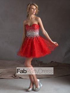 A-line Sweetheart  Beading  Sleeveless Short / Mini  Tulle  Cocktail Dresses/ Homecoming Dresses