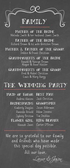 DIY Printable  Wedding Program Chalkboard by themunch on Etsy, $35.00