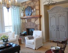 Another before & after - Holly Mathis Interiors. Sofa/chair Ikea. Armoire painted sw dovetail
