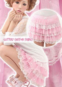 •○~ Gyaru fashion, ギャル♥ himekaji style - shorts - ruffles - lace - pink - pastel - cute - kawaii - Japanese street fashion✮ ~•○