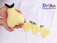 Pera porta pano de prato em feltro - Drika Artesanato