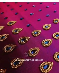 A Purple kundan embroidered blouse in the making by YUTI. For Orders and Queries reach us at or Address: Moosa street, TNagar, Chennai. Hand Embroidery Dress, Embroidery Neck Designs, Bead Embroidery Patterns, Embroidery Works, Simple Embroidery, Aari Embroidery, Embroidered Blouse, Cutwork Blouse Designs, Pattu Saree Blouse Designs