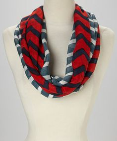 This Red & Blue Chevron Infinity Scarf is perfect! #zulilyfinds