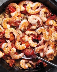 broiled shrimp with tomatoes + white beans // cast iron cooking