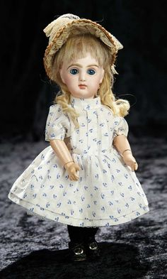 "Soirée: A Marquis Cataloged Auction of Antique Dolls and Automata - May 14, 2016: Lot 170. Tiny French Bisque Bebe by Emile Jumeau with Rare ""F"" Marking"