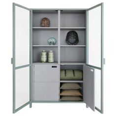 Beautiful Hk-living wooden cabinet with glass doors and double doors from wood. The outer casing of the HKLiving display cabinet is army green and has grey interior. The cabinet is delivered fully assembled. Cosy Sofa, Glass Cabinet Doors, Wooden Cabinets, Sit Back And Relax, Simple Pleasures, Army Green, Interior Inspiration, Tall Cabinet Storage, Bookcase