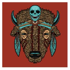 """I don't want to appropriate any native imagery in my tattoo. However, aside fromt hat there are some things from this that I really enjoy. The colours are great, I love the incorporation of the third eye and I really like the line work. """"Buffalo"""" art print… « Scraped Knee: The Art of Matt Leunig"""