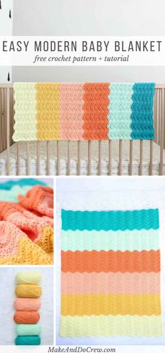 Gender neutral baby blanket Love this! This gender-neutral crochet baby blanket pattern is easy and rewarding. Perfect for a modern baby nursery! via makeanddocrew Crochet Afghans, Crochet Baby Blanket Free Pattern, Crochet For Beginners Blanket, Crochet Stitches, Free Crochet, Crochet Blankets, Crotchet Baby Blanket, Modern Crochet Blanket, Crochet Ripple Blanket
