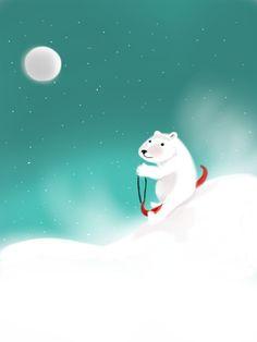 Winter polar bear drawing digital illustration by luxeloft on Etsy, $16.00