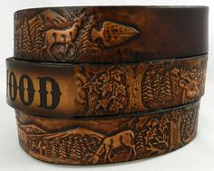 Name Belt. Deer scene Includes name in center back, utility buckle & leather keeper Faux Leather Belts, Thick Leather, Leather Craft, Tan Leather, Handmade Leather, Westerns, Gifts For Hunters, Leather Working, Decoration