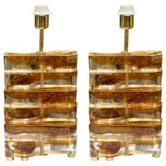 Pair of table lamps in Murano glass. | From a unique collection of antique and modern table lamps at http://www.1stdibs.com/furniture/lighting/table-lamps/
