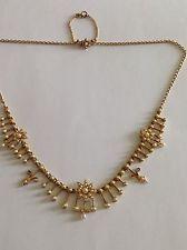 Превосходный античный викторианской эпохи 15ct золото натуральный семян жемчуг набор бахрома ожерелье