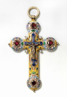 Pectoral cross Saint-petersburg, Faberge firm, craftsman A. Hollming, Moscow Kremlin Museums: - The World of Faberge Religious Icons, Religious Jewelry, Religious Art, Just Over The Top, Antique Jewelry, Vintage Jewelry, Faberge Jewelry, Sign Of The Cross, Diy Jewelry