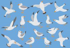 Free Vector Graphics, Free Vector Art, Owl Clip Art, Funny Birds, Bird Illustration, Sea Birds, Gull, Bird Art, Clipart