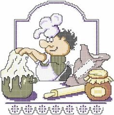 Chef cross stitch free embroidery design 3 - Cross stitch machine embroidery - Machine embroidery community
