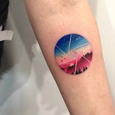 Double exposure landscape and aperture tattoo on the left forearm Mini Tattoos, Sky Tattoos, Cute Girl Tattoos, Circle Tattoos, Forearm Tattoos, Body Art Tattoos, Sleeve Tattoos, Arabic Tattoos, Neck Tattoos