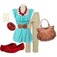 Red and aqua - love this color combination.  This is what I should wear for her party!