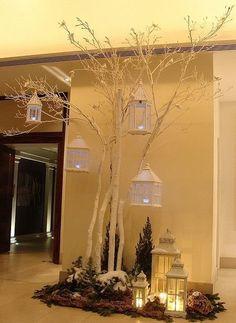 Decoración para Navidad con ramas secas