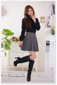 Korean Fashion Style Wholesale Skirts D3387 Black - Wholesale Skirts - ☆Autumn and Winter Clothes☆