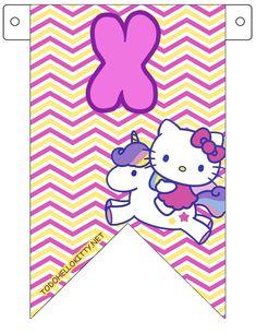 """En una fiesta temática de Hello Kitty no pueden faltar estos fabulosos banderines para decorar. No solamente podrás armar la frase """"Feliz Cumpleaños"""", el nombre de la pequeña cumpleañe…"""
