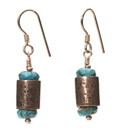 Mom's cute copper earrings as published in Bead and Button :)