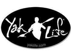Oval BLACK (Licensed) YAK LIFE Sticker (kayak kayaking decal)