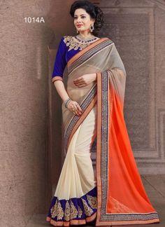 Orange With Grey Chiffon Designer Patch Border Work Saree#sarees  http://www.angelnx.com/Sarees