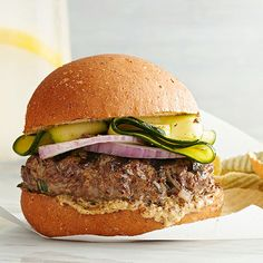 Bison is leaner than beef, not to mention an unexpected way to get your protein. Top with zucchini ribbons and a secret mustard sauce for the best burger you never saw coming./