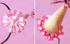 ice cream cone diy party hat headband. cute but I'd love to make a fake one to be able to use another year or just for play after