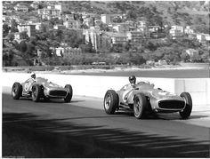 STIRLING MOSS JUAN FANGIO MONACO GRAND PRIX 1955 MERCEDES W196 PHOTOGRAPH | eBay