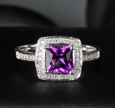 Princess Cut 6mm Dark Amethyst 14K White Gold Pave Diamonds Halo Engagement Ring