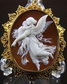Victorian Rare Cameo of Wilhelm von Kaulbachs Guardian Angel
