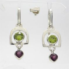 Earrings Faceted Peridot over Rubellite Tourmaline | 925 Sterling Silver | Authentic Stones | Crystal Heart Melbourne Australia since 1986