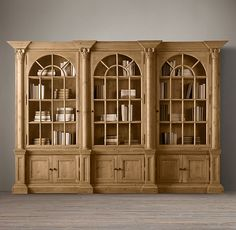Palladian Salvaged Pine Library Bookcase Double by Restoration Hardware (for chinaware) Victorian Bookcases, House Built, Classic House, Double Doors, Restoration Hardware, My Dream Home, Home Furnishings, Tall Cabinet Storage, Shelving