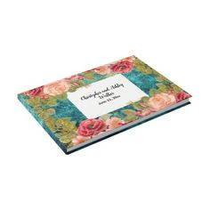 Teal with Red and Pink Floral Wedding Guestbook  $56.94  by thepartyshop  - custom gift idea