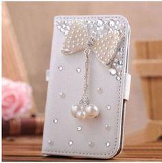 New Luxury crystal rhinestone Tower flower girl pearl mirror Wallet style bling Diamond DIY crown phone case for iphone 6 plus