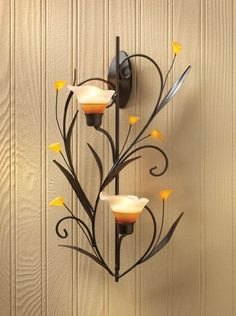 """SET OF 2 AMBER LILIES TEALIGHT  CANDLE HOLDER WALL SCONCE  15"""" TALL NEW~10015809"""
