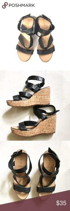 J.crew Ankle strap wedge sandals J.crew Ankle strap wedge sandals in good condition same day chipping offers are welcome J. Crew Shoes Sandals