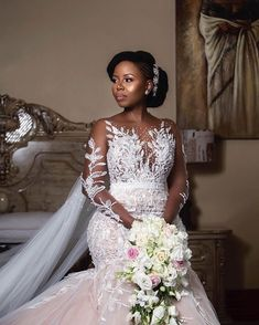 Pearl in a beautiful OM Bridal couture wedding gown for her matrimonial ceremony. Fancy Wedding Dresses, African Wedding Dress, Couture Wedding Gowns, Custom Wedding Dress, Elegant Wedding Dress, Wedding Attire, Bridal Dresses, Bridal Outfits, Long Sleeve Wedding