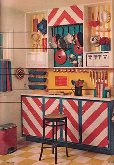 vintage kitchen storage ideas. Maybe not for a kitchen but I like this for like a craft room/area storage.