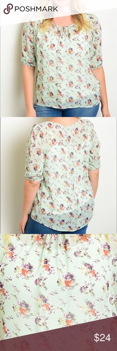 "🆕 3/4 sleeve chiffon floral print blouse. Jr Plus size 3/4 sleeve chiffon floral print blouse.   Fabric Content: 100% POLYESTER Size Scale: 1XL-2XL-3X.                                                  Description: L: 30"" B: 44"" W: 48"" 🔺Firm price🔺 Tops Blouses"