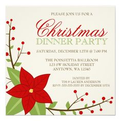 christmas dinner invitation holiday invitations custom invitations dinner party invitations invitation design - Christmas Dinner Party